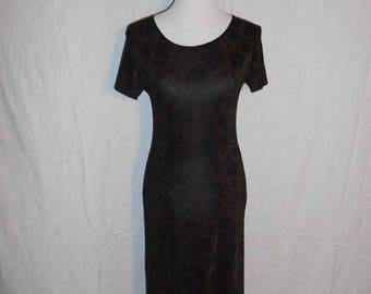 Closing Shop 40%off SALE Vintage 90s  black brown floral long  dress, stretchy, long dress, grunge, punk, fitted