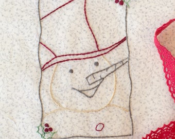 Snowman Christmas Ornament Set Hand Embroidery PDF Pattern Instant Download