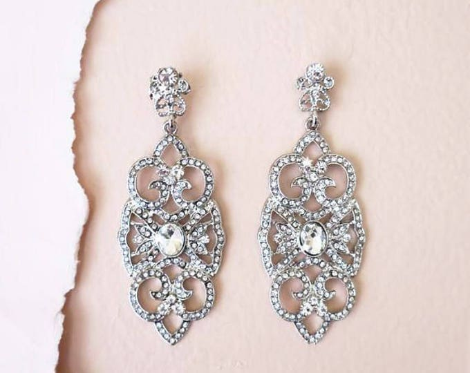 925 Bridal Crystal Earrings Art Deco Wedding Jewelry for Brides AMELIA
