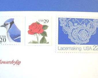 Red White and Blue, Red Rose - Lace - Blue Jay Stamps, Mail 20 Romantic Summer Wedding Invites 2 oz 70c, Floral Romantic postage unused