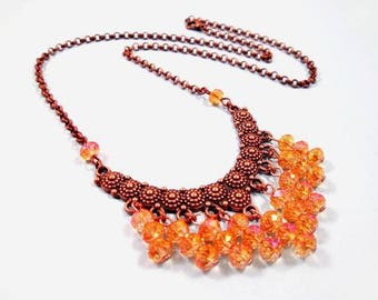 Fringe Necklace, Apricot Glass Bib Necklace, Copper Beaded Pendant Necklace, FREE Shipping U.S.
