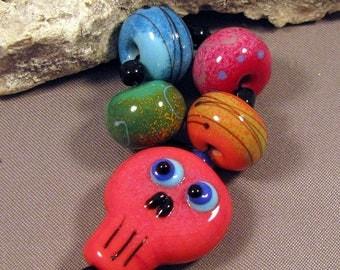 Handmade Lampwork Bead Set by Monaslampwork - Sugar Skull Fun - Multiple dots and enamels, fine stringer color Handmade by Mona Sullivan