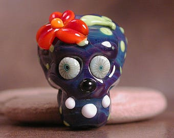 Lampwork Day of the Dead Sugar Skull Glass Focal Bead Divine Spark Designs SRA