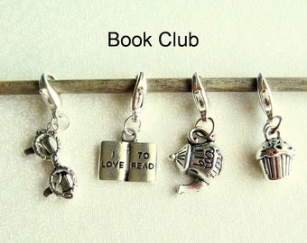 Progress Keepers, Removable Stitch Markers, Knitting Markers, Crochet Markers, Zipper Pull Charms - Set of 4 - Book Club