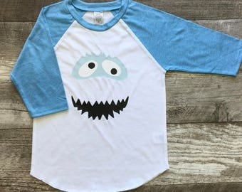 Boys Unisex Abominable Snowman Yeti Baseball T long Sleeve T Shirt White Light Blue Gray modern graphic trendy