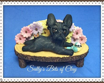 READY TO SHIP!  Black brindle French Bulldog on bench bird and butterfly Original sculpture by Sally's Bits of Clay
