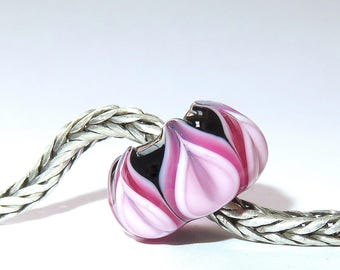 Luccicare Lampwork Bead - Pink&Black Lotus -  Lined with Sterling Silver