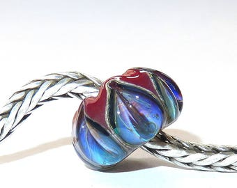 Luccicare Lampwork Bead - Ocean Lily on Red -  Lined with Sterling Silver