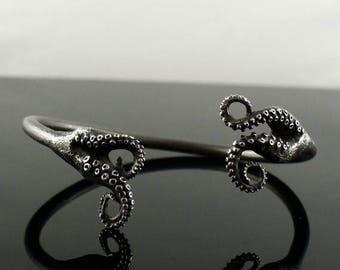 SALE Octopus Jewelry, tentacle bracelet, tentacle cuff, octopus Bangle - Double Tentacle Split Bangle