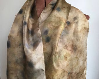 Elderberry, tea, cabbage and onion skin dyed  silk scarf, naturally dyed scarf