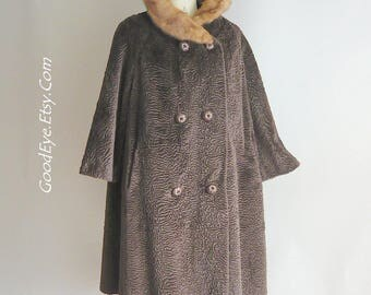 Latte Brown 60s Faux Fur Swing Coat w Genuine Mink Collar / size 12 14 16 medium / Bell Sleeves Pockets / DOUBLE BREAST Curly Lamb