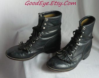 Vintage JUSTIN Kiltie Hightop Ankle Boots / Size 5 B  Eu 35  UK 2.5/ Black Leather Oxfords Combat Granny Lace Up Boot / Youth Kids small