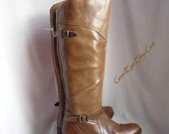 Vintage DISTRESSED Leather Knee  Boots / size 8 Eu 38 .5 Uk 5 .5 / Flat Heel High Toe Ankle Harness / DIBA Chestnut Brown