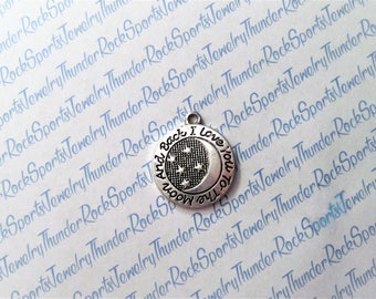 i love you to the MOON and BACK CHARM, round Antique Silver, engraved Word pendant, sun, phrases, sayings, message, wedding