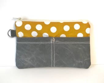 Clutch No. 1 in Yellow Dots and Dark Brown Waxed Canvas