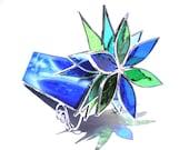 Frischer Geist - 3D Glasmalerei Kaleidoskop - Mittel blau grün Lotus Blume Sammler Kunst Home Decor Suncatcher Licht (sofort lieferbar)