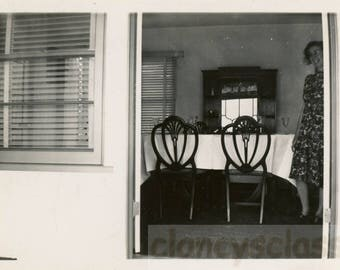 Vintage photo 1950s Stark Dining Room Still Life Chairs Snapshot