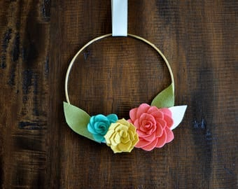"Felt Succulents Wreath - 7"" - Pink Yellow and Teal"