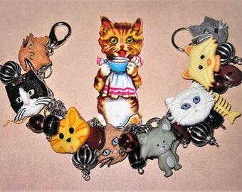 Cat Charm Bracelet, Cat Jewelry, Chunky Charm Bracelet, Kitty, Mouse, Yarn Ball, Fish, Buttons, Beads, Handmade, Kitsch, Teen, Tween, Adult
