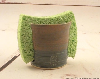 Sponge Holder - Kitchen Accessory - Ceramic Sponge Drying Bowl - Small Cup Holder - Stoneware Pottery - Tourmaline Blue - Tan Pink Rim H487
