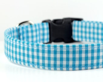 Gingham Dog Collar, personalized collar optional, Plaid Collar - Teal Gingham