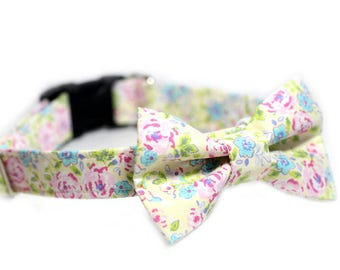 Floral Bow Tie Collar, Doggy BowTie Collar - Pink A Boo
