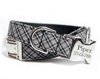 Plaid dog collar, Personalized Dog Collar, Engraved Dog Collar, The Edgar