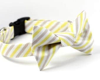 Bowtie Dog Collar - Wedding Collar - Yellow Bias Stripe