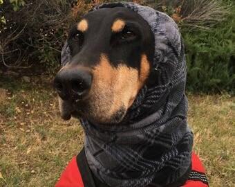 XL Snood for Dog - Grey Plaid Polarfleece Snood for Dog - Snood for XL Doberman to Great Dane - Warm Dog Snood