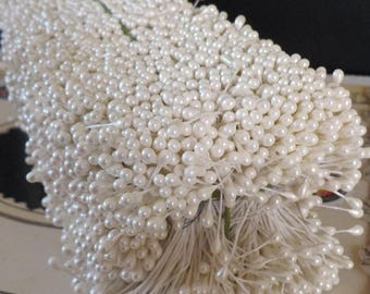 Floral Stamens / Sale / Vintage / Double Ended / Pearlized Aged White / Unaltered Brick / Flower Making Supplies / Flower Centers