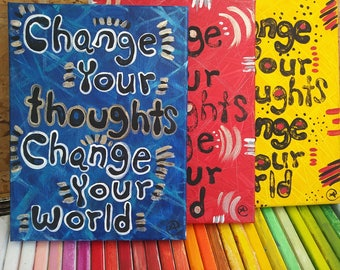 Change your thoughts change your world quote -wall art -home decor-motivational quote wall decor eileenaart