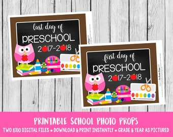 PRINTABLE First Day of Preschool and Last Day of Preschool Sign / Pink Owl Sign for Back to School Pre-K / INSTANT DOWNLOAD