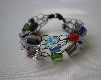 Multi Strand Bracelet, Multistrand, Glass, Wire Bracelets, Cane Glass, Furnace Glass, COLORFUL, Fun Jewelry, Multicolored Bracelets, Festive