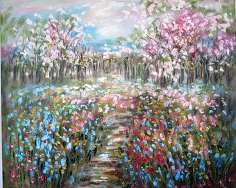 Oil painting  Abstract  18 x 24  Cherry Blossom path and Wildflowers - FREE SHIPPING in US