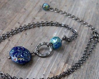 Handmade Necklace - Navy Blue Necklace - Boho Beaded Jewelry - Boho Jewelry - Bead Necklace - Womens Boho Necklace - GB2017 Series