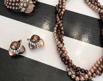 1950s necklace set 3 piece set ombre pearls vintage necklace set brown pearl set costume jewelry