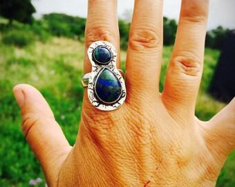 Land & Sky ring-Azurite Malachite Gemstones-Gemstone Ring-Vegan Ring-Vegan Gift-Birthday-Anniversary-Hippie Ring-Gift-OOAK-Art Jewelry