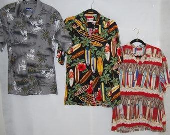 3 Mens Hawaiian shirts Hilo Hattie shirt, Kalaheo shirt, Palmwave  surfboard surfing theme