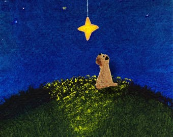 Soft coated Wheaten Terrier Dog Art PRINT Todd Young painting Wishing on a Star