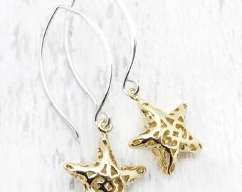 star earrings, gold star earrings, silver star earrings, gift for girlfriend, star jewelry, celestial jewelry, Hostess gift,  holiday gift