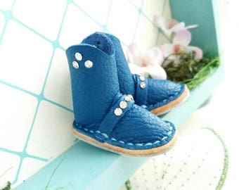 Mini Blue Leather Riding Boots Neo Blythe Azone Pureneemo M S Size Hand Made By MizuSGarden