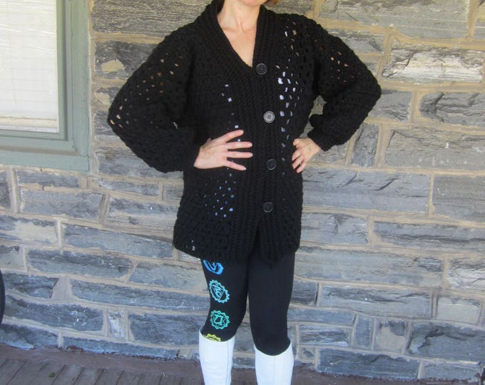 BLACK OVERSIZE CARDIGAN/plus size cardigan/chunky oversize sweater/cozy cardigan/womens sweater/womens cardigan/gift for her/Christmas gift