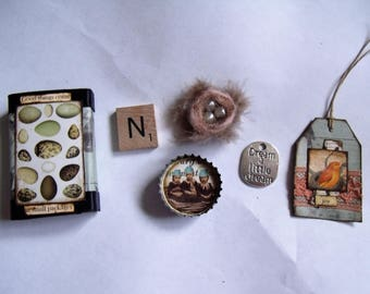 Good Things Come in Small Packages/Bird/Nest/Eggs Matchbox with 5 Goodies Inside/Decoration/Stocking Stuffer/Gift