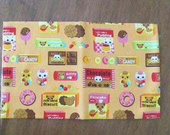 Kawaii - Japanese - kitty - chocolate - cotton canvas fabric - fat quarter