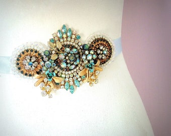 Something old, new and blue -  OOAK Waist Sash - Ready to ship xx