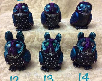 Night Owl hand sculpted figurine ...sculpey polymer clay bird sculpture numbered collectible