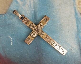 Antique Cross Etched Victorian Vintage Religious 10K gf