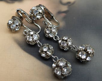 Vintage Rhinestone Ball Bead Earrings