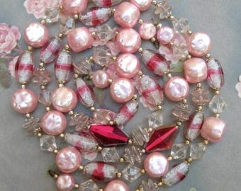 2 Vintage West German Strands Glass Beads Pink Glass Pearls