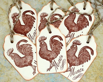French Chic Rooster Gift Tags Hand Stamped